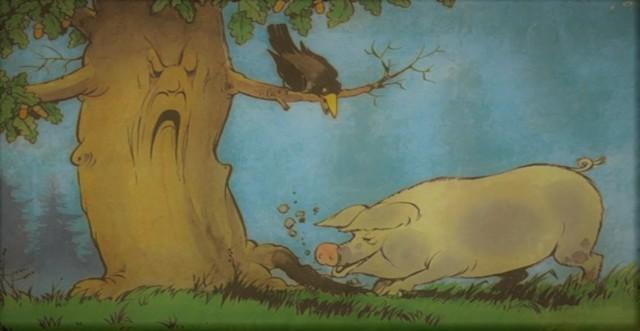 Краткое содержание басни Крылова Свинья под дубом за 2 минуты пересказ сюжета