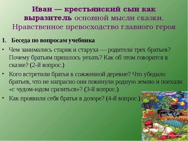 Краткое содержание сказки Иван - крестьянский сын и Чудо-юдо за 2 минуты пересказ сюжета